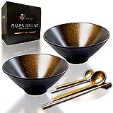 TORTELY HAUSS Ceramic Ramen Bowl Set Large (60oz)   2x Bowls, 2x Spoons, 4x Chopsticks, 2x Chopstick Holders   Handmade Japanese Pho Bowls Noodle Bowl Soup Bowls Miso