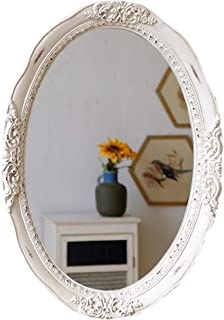 WYXIAN Oval Distressed Decorative Mirror Resin Frame Vanity Porch Hanging Mirrors White Carved (Size : EMBFUBXM)