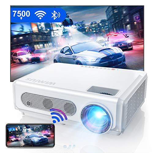 Proyector WiFi Bluetooth 1080P, WiMiUS 7500 Proyector Full HD 1920×1080P Proyector Nativo Soporte 4K y Función de Zoom WiFi Proyector Cine en Casa Proyector de Vídeo para iOS/Android/TV Stick/PS4/PC