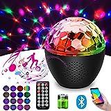 Luci Discoteca con Cassa Bluetooth, 16 Colori Luce da Palco Discoteca , Telecomando e USB Alimentata con Batteria, Qualità audio Musica Palla da Discoteca per Capodanno e Natale Regalo