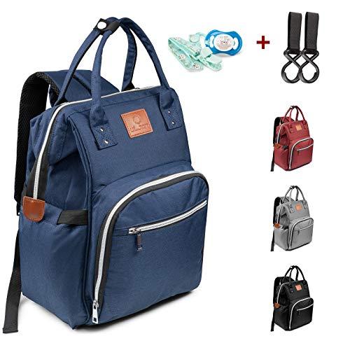 Baby Wickeltasche Wickelrucksack multifunktional Windeltasche - blau Babytasche mit 2 Kinderwagen Haken Mama Rucksack Wasserdicht