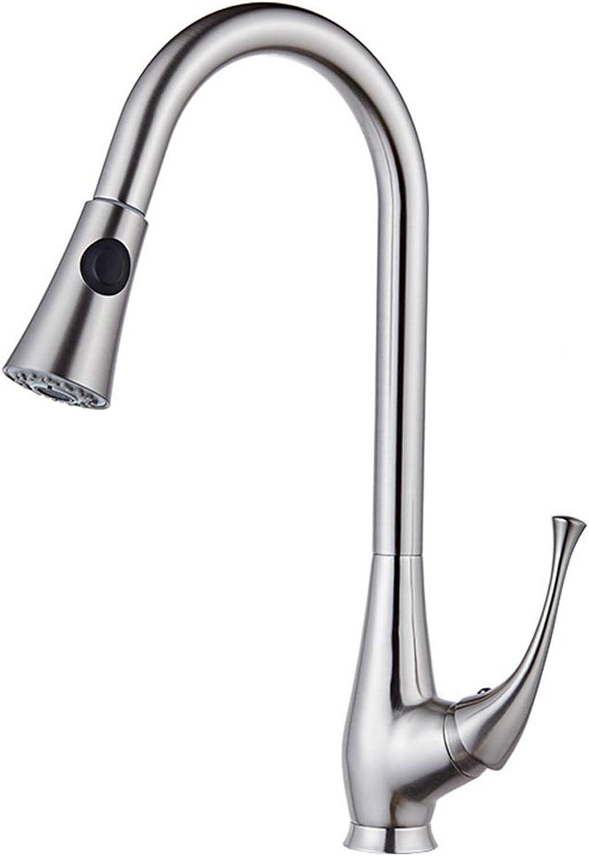 360° Drehbar ausziehbarer Brause Küchenarmatur Wasserhahn Messing heies und kaltes Gebürsteter Spüle Mischbatterie,MetallicFaucet