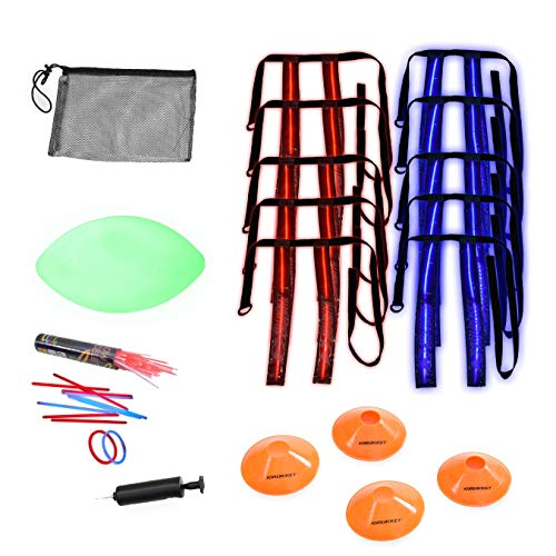 Rukket Flag Football Set, Glow In The Dark Capture The Flag Footballs, Belts, Cones & Toys, 10 Player Kids & Youth Nighttime Outdoor Game
