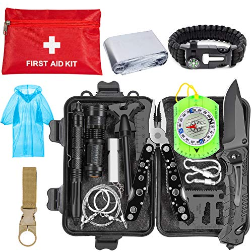 Emergency Survival Kit 37 in 1, Survival Gear Tool Kit SOS Survival Tool Emergency Blanket Tactical Pen Flashlight Pliers Wire Saw for Wilderness...
