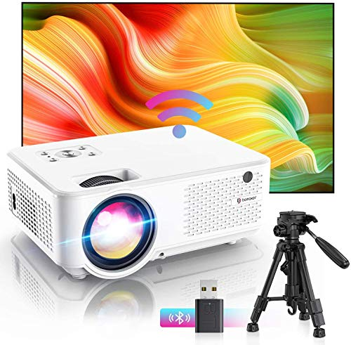 BOMAKER WiFi Projector, Native 1080P HD Supported, Native 800P, 7000 Lumens Portable Outdoor Movie Projector, 300'' Screen Compatible with iPhone, TV Stick, PS4, Laptops HDMI for Home Cinema