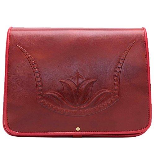 Koson leder gegoten rode Tulp handgemaakte Satchel schouder handtas Messenger tas