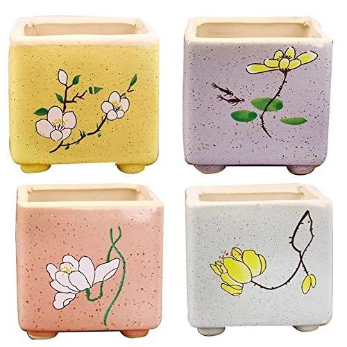 XINXI-YW Convenient 4Pcs Pot Breathable Stylish Durable Square Ceramic Pots For Office decorative