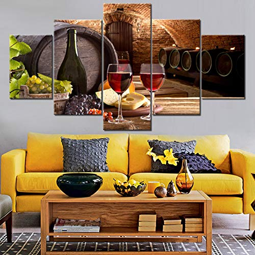 Kitchen Wall Art Red Wine Cellar Pictures Wooden Barrel and Wineglasses Paintings for Living Room 5 Panel Canvas Artwork House Modern Decor Giclee Framed Ready to Hang Posters and Prints(60''Wx32''H)