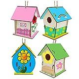 Xumier 4pcs Casetta Uccelli Costruire Fai da Te Kit per Bambini Casa per Uccelli Giocattolo educativo di Artigianato in Legno Casetta Uccelli in Legno Pittura Kit Regali di Compleanno per Bambini
