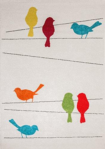 Arte per Bambini Animali Design Tappeto Salotto Uccelli, Multicolore, 135x 190cm