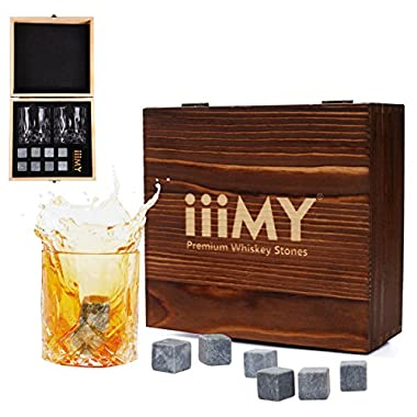 iiiMY Whiskey Stones and Glasses Gift Set, Whiskey Rocks Chilling Stones in Premium Handmade Wooden Box– Cool Drinks without Dilution – Whiskey Glasses Set of 2, Gift for Dad, Husband, Men