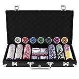 Goplus Set da Poker- 300 Chips (Cuore a Metallo) da 11,5g, 2 Mazzi di Carte, 5 Dadi, Gettoni Dealer e Valigetta in Alluminio 38,5x20,5x6,5cm (Nero)