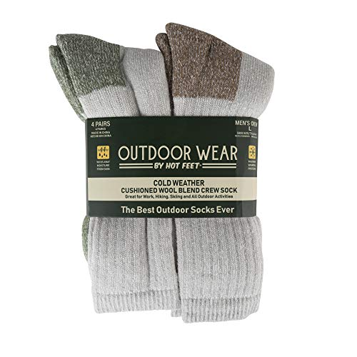 Hot Feet Mens Active Work and Outdoors Socks, Fully Cushioned, Thermal Wool Blend, 4 Pack Warm Reinforced Heel and Toe by HOT FEET (Green & Brown)