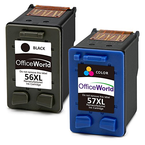 OfficeWorld 56 XL 57 XL Cartuchos de tinta Compatible HP 56 57 56XL 57XL con HP PSC 1210 1215 1315, Deskjet 5150 5550 450Ci, Photosmart 7350 7660 7760, Officejet 5610 4212 4215 (1 Negro,1 Tricolor)