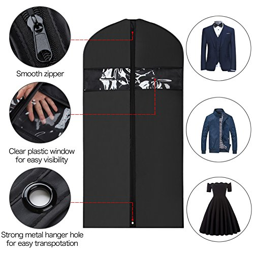 Univivi Garment Bag Suit Bag for Storage and Travel 43 inch, Anti-Moth Protector, Washable Suit Cover for T-Shirt, Jacket, Suits, Coats, Set of 5…