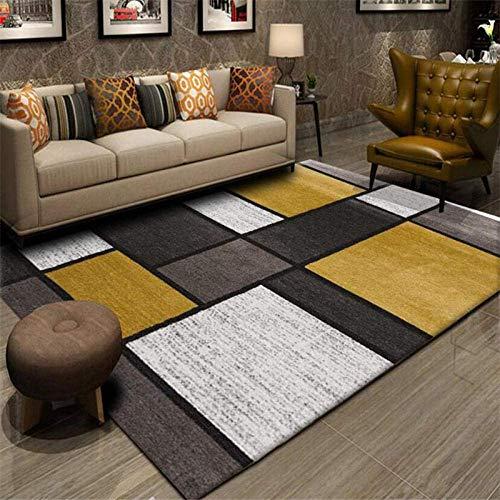 FLOORMATJING Teppich Wohnzimmer Groß flächiger Teppiche Moderner Kurzflor Designer Mode Geometrie Senfgelb Grau Weiß Patchwork Teppich Wohnzimmer Weich Teppich 160x230cm