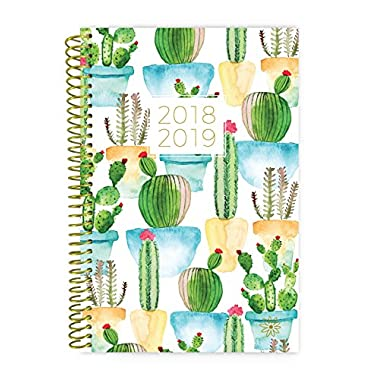 bloom daily planners 2018-2019 Academic Year Day Planner - Monthly and Weekly Datebook/Calendar Book - Inspirational Dated Agenda Organizer - (August 2018 - July 2019) - 6  x 8.25  - White Cacti