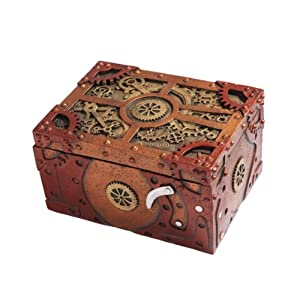 Steampunk Themed Clockwork Jewelry Trinket Box Figurine 5″Long