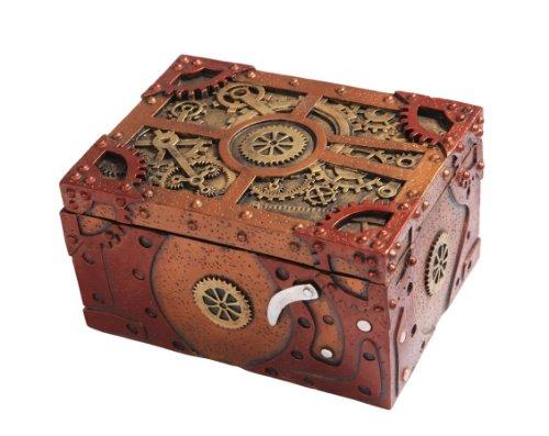 "Steampunk Themed Clockwork Jewelry Trinket Box Figurine 5""Long 2"