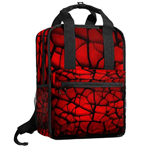 AITAI Mochila roja de azulejos divididos para adolescentes, mochila de viaje