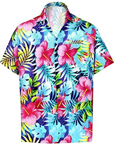 HAPPY BAY Funky hawaiihemd Hawaiian Hemd Beach Hemd Kurzarm 3D HD Männer Strand Hemdkragen-Taste gedrückt übergröße Aloha L Mehrfarbig_W612