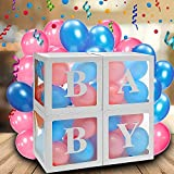 Youngneer Baby Shower Cube Transparente Decoration pour Baby Shower Fille Garcon Anniversaire Gender Reveal avec 4 Boîtes à Ballons 30cm & 3pcs Baby Lettre de Bébé 30pcs Latex Ballons