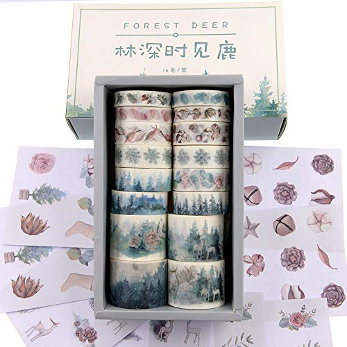 Watercolor Forest Deer Washi Masking Tape Bulk/Winter Nature Washi Tape Set for Traveler Notebook, Journal, Scrapbook, Crafting, Photo Album-16 Rolls (Forest Deer)