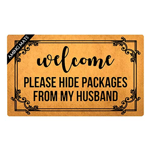 """AMING mats Kitchen Mats Welcome Please Hide Packages from My Husband Doormat Funny Quotes Rugs Colorful Top with Anti-Slip Rubber Back Doormat Gift Doormat for The Entrance Way 29.5""""(W) X 17.7""""(L)"""