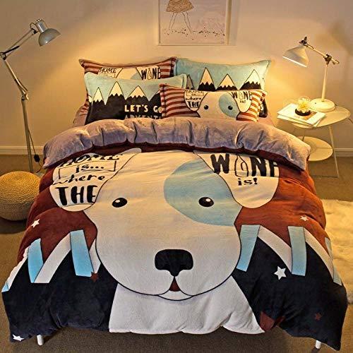 bettwäsche 135x200 Baumwolle reißverschluss-Vierteilige Cartoon Flanell Bett Winter...