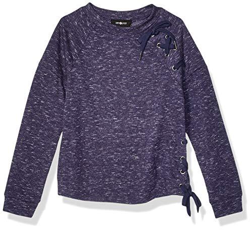 Amy Byer Girls' Lace Up Raglan Sleeve Sweatshirt, Sunset Navy, M