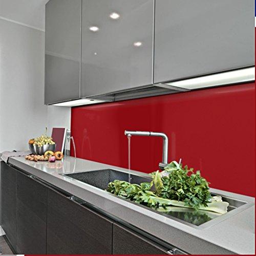KERABAD Küchenrückwand Küchenspiegel Wandverkleidung Fliesenverkleidung Fliesenspiegel aus Aluverbund Küche Purpurrot Glanz/matt 50x100cm