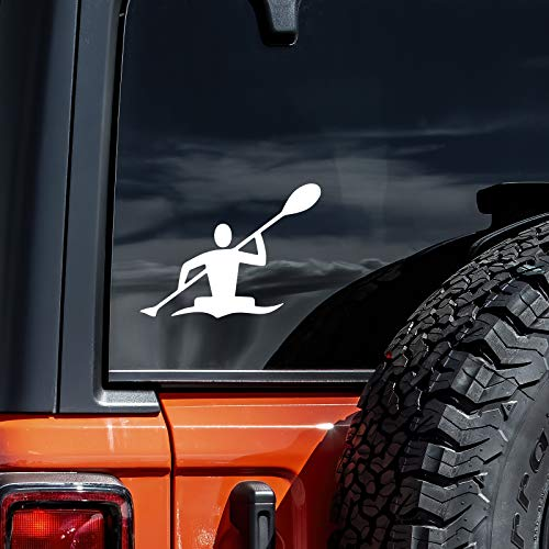 CCI007 - Kayak Kayaker Die Cut Vinyl Window Decal/Sticker for Car, Truck, Laptop | 5 X 6.5 in