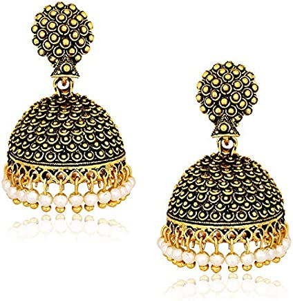MEENAZ Gold-Plated Brass Copper Pearl Jhumki Earrings for Women