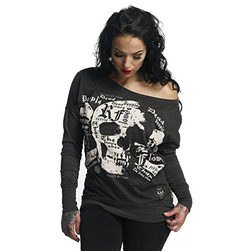 Yakuza Original Damen Skull Script Shirt Longsleeve, Farbe schwarz, Size L