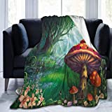 Moily Fayshow Paisaje de Bosque con Setas Manta de Tiro Manta de Terciopelo Edredón Manta de Lana, 102 X 127 Cm