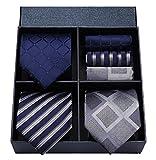 HISDERN Lot 3 PCS Classic Men's Tie Set Necktie & Pocket Square Elegant Neck Ties Collection,T3-10,One Size