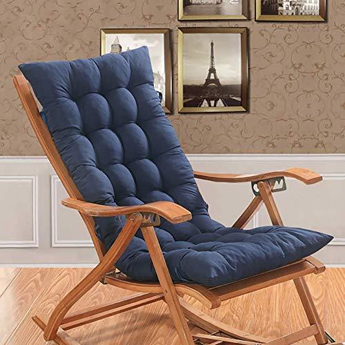 MissZZ Cojines para sillas de Patio, Respaldo Alto, Antideslizantes, Plegables, para tumbonas, Cojines, Almohadillas para sillas de una Pieza, para jardín, hogar, sin Silla, Azul 48x120cm (19x47inc