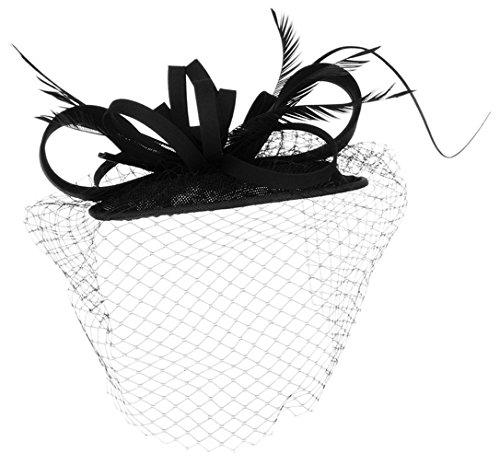 La Vogue Chapeau Mini Voile Plume Femme Mariage Cérémonie Accessoire Cheveux Noir