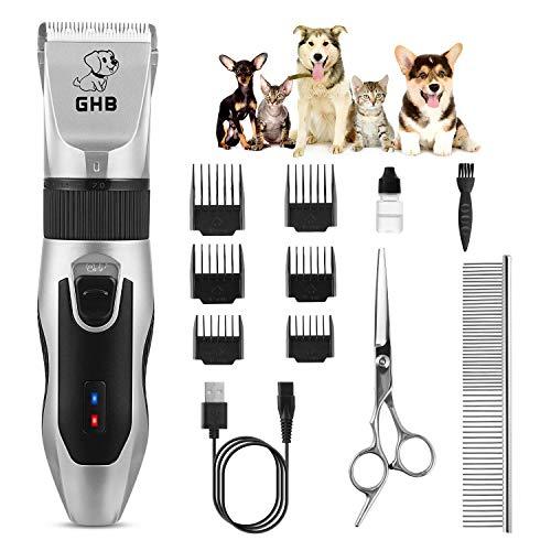 GHB Cortapelos Perros Maquinillas Eléctricas para Mascotas Inalámbrico y Recargable