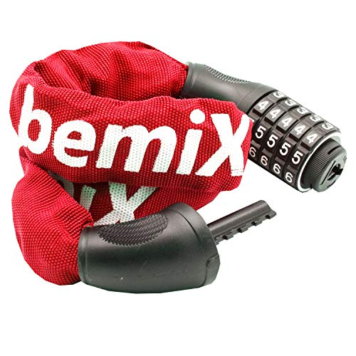 bemiX Fahrradschloss Zahlenschloss 900 mm mit 5-stelliger Zahlencode-Kombination   Stahlglieder Kettenschloss   Fahrradschloss-Zahlen (Rot)