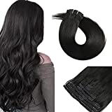 Clip In Extensions Human Hair,11A 160g 7pcs Thickened Silky Straight 100% Remy Hair Double Weft Clip In Extensions 20inch Natural Black Clip on Hair