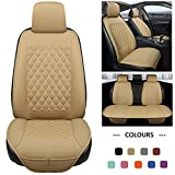 Black Panther Full Set Car Seat Covers, Luxury Car Seat Protectors Universal Anti-Slip Seat Cover for 5-Seater Models, Diamond Pattern (Beige)