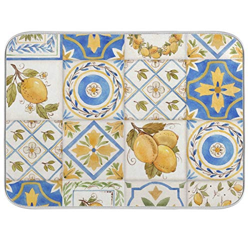 Absorbent Dish Drying Mat Vintage Watercolor Sicily Ornament Square Lemons Pattern Dishes Drainer Protector Pad Trivet Mat Pot Holder with Hanging Loop for Kitchen Countertops Sinks Refrigerator 16 x