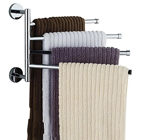 Bekith 16 inch Wall-Mounted Stainless Steel Swivel Bars Bathroom Towel Rack Hanger Holder Organizer (4-Arm)