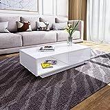 Senvoziii Couchtisch Weiß Hochglanz Wohnzimmertisch mit Schubladen und Fach öffnen Sofatisch für Wohnzimmer