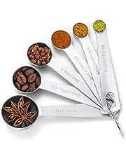 ملاعق قياس توفييا من الفولاذ المقاوم للصدأ لملاعق الطعام ذات المكونات السائلة الجافة مع حامل على شكل حرف D أدوات طبخ المطبخ مجموعات معدنية، فضي