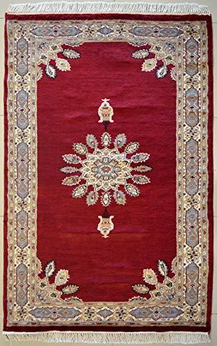 etnico Ardabil Orientalischer Teppich aus Seide und Wolle, handgefertigt, 119 x 193 cm, Rot