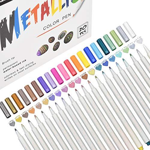 Permanent Metallic Marker Stifte, 20 Farben Acrylstifte Premium Metallischen Stift Pens für Kartenherstellung DIY Fotoalbum Gästebuch Hochzeit Papier Glas Kunststoff Stein - Feiner Spitze(1MM)
