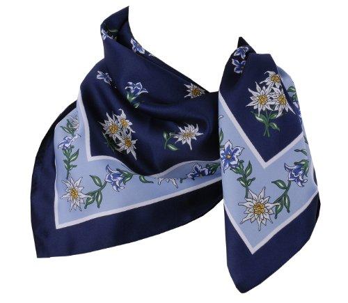 Trachtenhalstuch Trachtentuch Halstuch Edelweiß Trachten Damen Herren Nickituch Edelweißtuch Blau