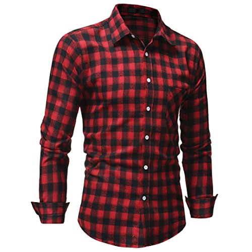 Mens Long Sleeve Shirts Plaid Checked Button Down Blouse Cotton Casual Dress Shirts Top (XL, Red)